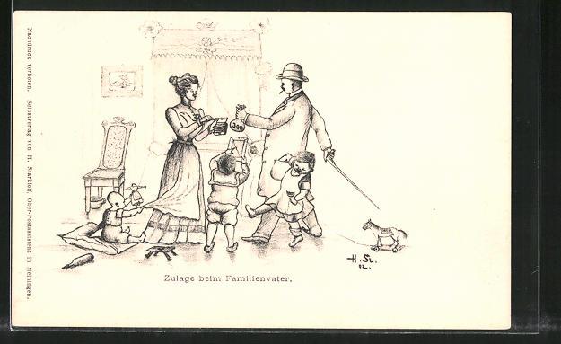 Künstler-AK H. Starkloff: Kinder freuen sich über Zulage beim Familienvater