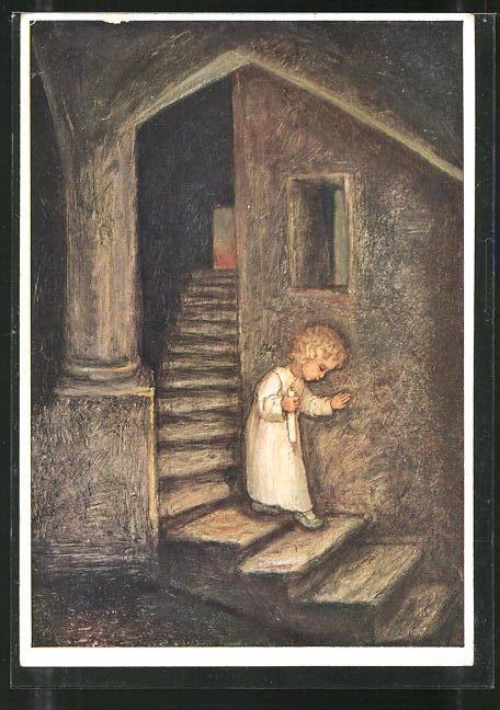 Künstler-AK Maria Spötl: Die kleine Freude..., Kind mit Kerze
