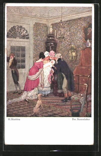 Künstler-AK Wohlgemuth & Lissner, Primus-Postkarte No. 6005, Helmut Skarbina: Der Stammhalter