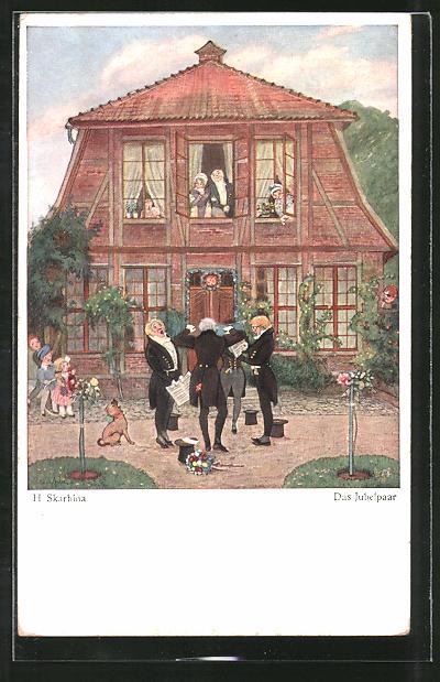Künstler-AK Wohlgemuth & Lissner, Primus-Postkarte No. 6003, Helmut Skarbina: Das Jubelpaar