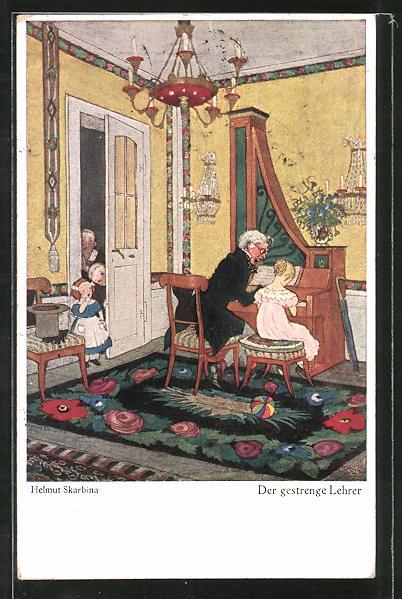 Künstler-AK Wohlgemuth & Lissner, Primus-Postkarte No. 5077, Helmut Skarbina: Der gestrenge Lehrer, Klavier