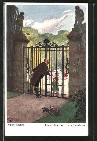Künstler-AK Wohlgemuth & Lissner, Primus-Postkarte No. 5078, Helmut Skarbina: Hinter den Pforten des Paradieses