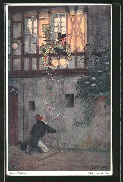 Künstler-AK Wohlgemuth & Lissner, Primus-Postkarte No. 3009, Helmut Skarbina: Liebe macht blind