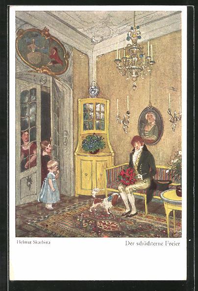 Künstler-AK Wohlgemuth & Lissner, Primus-Postkarte No. 5076, Helmut Skarbina: Der schüchterne Freier