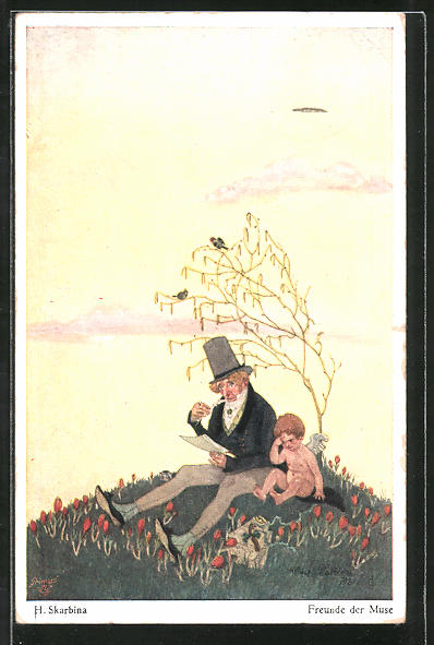 Künstler-AK Wohlgemuth & Lissner, Primus-Postkarte No. 6006, Helmut Skarbina: Freunde der Muse
