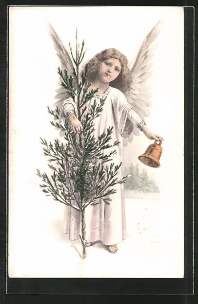 Künstler-AK E. Reckziegel: Weihnachtsengel mit Glocke und Tannenbaum
