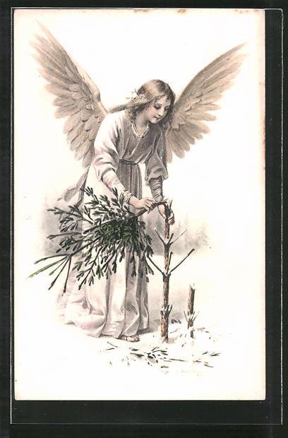 Künstler-AK E. Reckziegel: Weihnachtsengel bricht den Christbaum vom Stamm