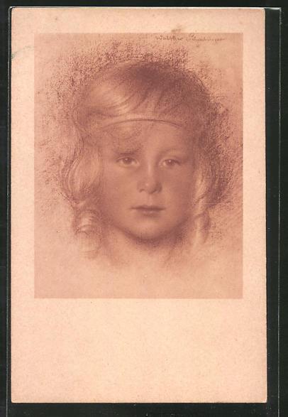 Künstler-AK Walter Schachinger: Rötelzeichnung, Mädchenporträt
