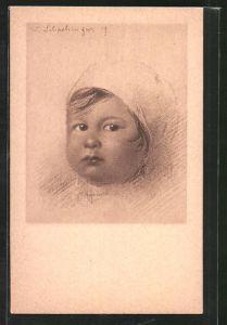 Künstler-AK Walter Schachinger: Rötelzeichnung, Kleinkindporträt