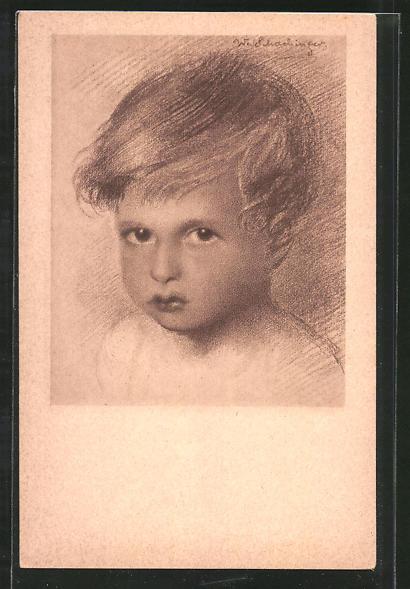 Künstler-AK Walter Schachinger: Rötelzeichnung, Jungenporträt