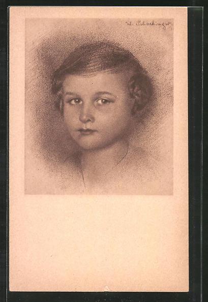 Künstler-AK Walter Schachinger: Rötelzeichnung, Porträt eines Mädchens