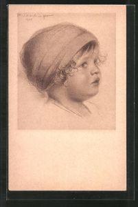 Künstler-AK Walter Schachinger: Rötelzeichnung, Kleinkindporträt im Halbprofil