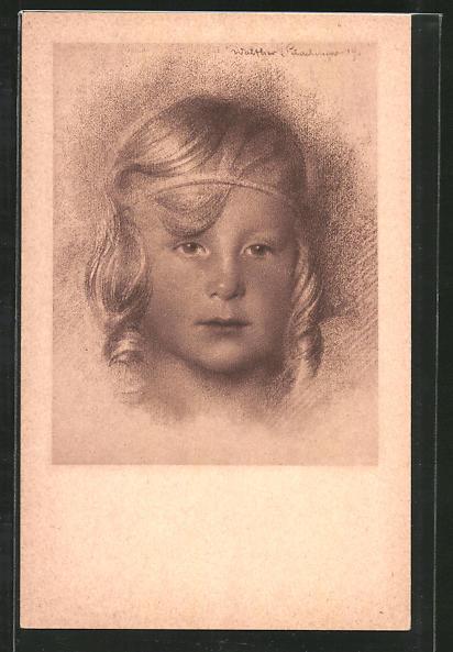 Künstler-AK Walter Schachinger: Rötelzeichnung, blondes Mädchen mit Haarreif