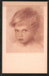 Künstler-AK Walter Schachinger: Rötelzeichnung, Porträt eines kleinen Jungen