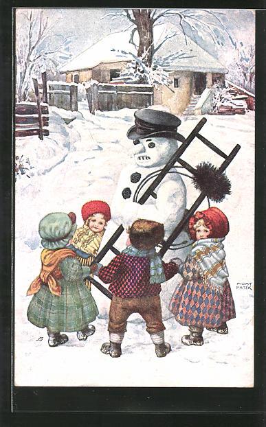 Künstler-AK August Patek: Kinder tanzen Ringelreihen um einen Schneemann