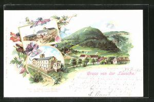Lithographie Waltersdorf, Gasthof auf der Lausche, Post- und Telegraphen-Hilfsstelle