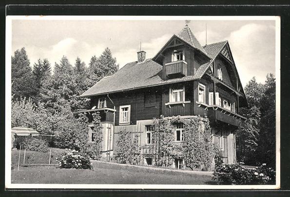 AK Kurort Jonsdorf, Hotel Haus Fernblick vom Garten gesehen