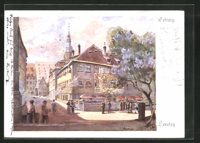 Künstler-AK Coburg, Strassenpartie am Gasthaus Loreley