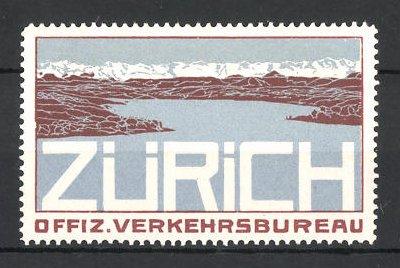 Reklamemarke Zürich, Offiz. Verkehrsbureau, Blick über den Zürichsee