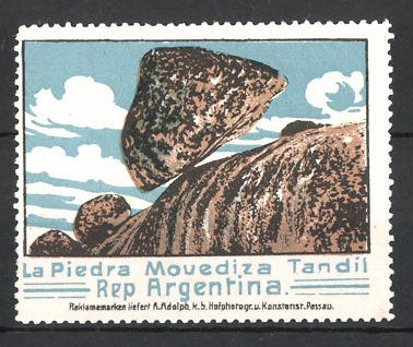 Reklamemarke La Piedra Movediza Tandil, Rep. Argentina, Felsformartion