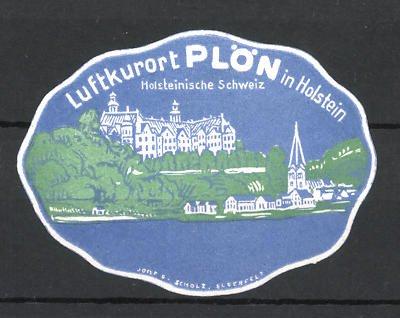 Reklamemarke Plön, Ortsansicht in der holsteinischen Schweiz