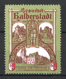 Reklamemarke Halberstadt, Ortsansicht, Roland zu Halberstadt