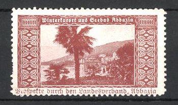 Reklamemarke Seebad Abbazia, Blick vom Hafen zur Arena, Landesverband Abbazia, braun