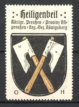 Reklamemarke Heiligenbeil, Königreich Preussen, Provinz Ostpreussen, Reg.-Bz. Königsberg, Wappen