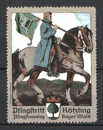 Künstler-Reklamemarke Sailer, Kötzing, Pfingstritt am Pfingstmontag, Reiter mit Standarte zu Pferd