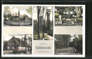AK Schönwalde, Kirche, Jugendherberge, Milchstrasse, Ehrenmal, Bungsberg