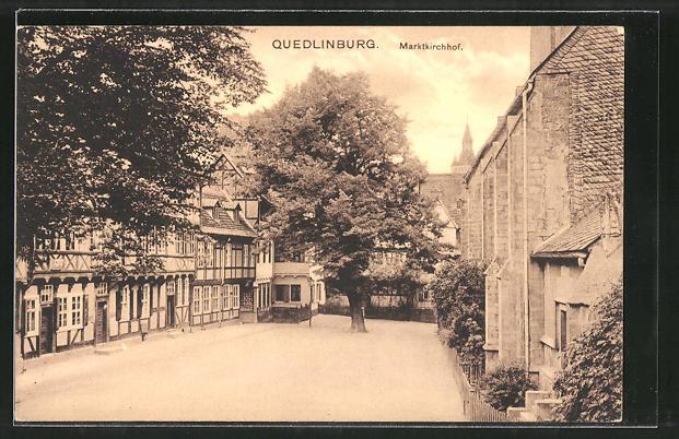 AK Quedlinburg, Blick zum Marktkirchhof