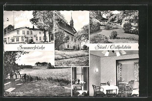 AK Süsel, Gasthaus am See, Kirche, Partie am See