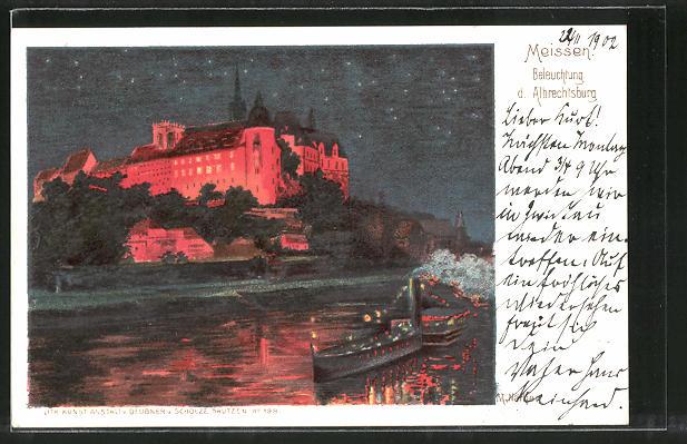 Lithographie Meissen, Beleuchtung der Albrechtsburg