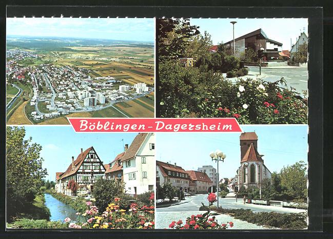 AK Böblingen-Dagersheim, Gesamtansicht, Strassenpartie