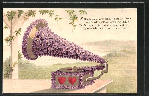 Präge-AK Grammophon aus Veilchen, Blumenbild