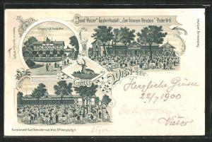 Lithographie Wien, Wiener Prater, Gasthaus zum braunen Hirschen v. J. Parzer mit Gartenlokal, Eingang v. d. Hauptallee