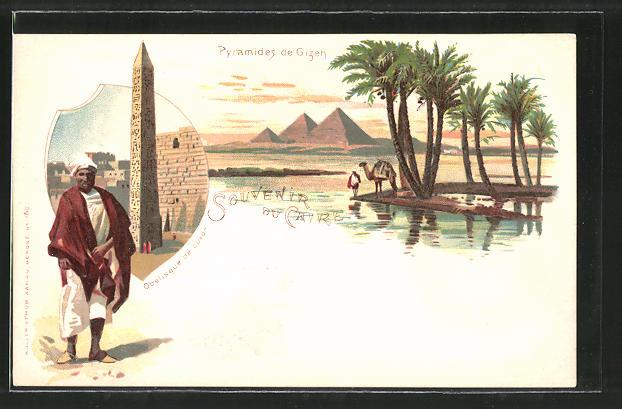 Lithographie Caire, Pyramides de Gizeh, Obelisque de Luxor, Kamel