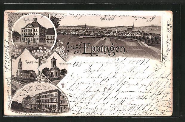Lithographie Eppingen, Hotel zur Krone Post, Rathaus, Ottilienberg