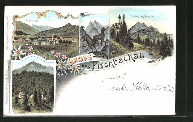 Lithographie Fischbachau, Ortsansicht, Gemsen im Gebirge, Birkenstein