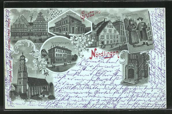 Mondschein-Lithographie Nördlingen, St. Georgskirche, Kloster Maria-Stern, Hotel zur Krone, Gasthof zum weissen Ross
