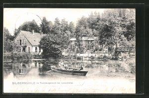 AK Leopoldstal, Gasthaus Silbermühle im Teutoburgerwald, Ruderboot