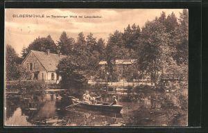 AK Leopoldstal, Gasthaus Silbermühle im Teutoburgerwald, Ruderbootpartie