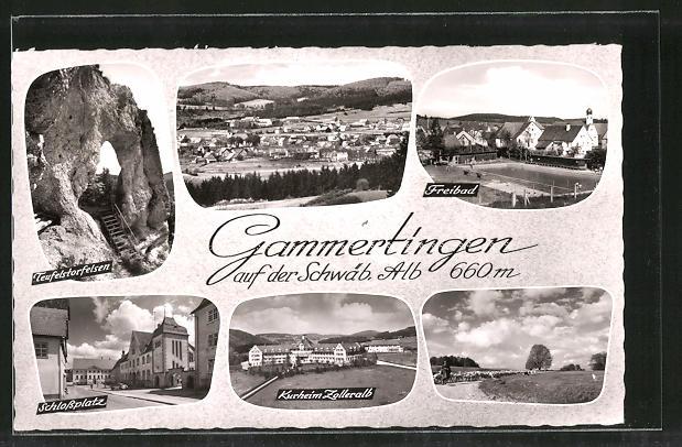 AK Gammertingen, Schlossplatz, Teufelstorfelsen, Freibad, Kurheim Zolleralb