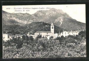 AK Lugano - Cadro-Dino, Ferrovia Elettrica, Kirche