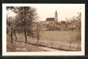 AK Pram, Teilansicht im Frühling mit Kirche