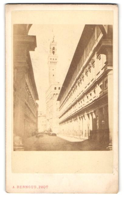 Fotografie Alphonse Bernoud, Florenz, Ansicht Florenz, Palazzo Vecchio