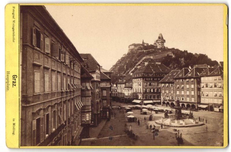 Fotografie Weingartshofer, Mödling, Ansicht Graz, Marktstände auf dem Hauptplatz