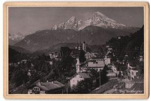 Fotografie Fotograf unbekannt, Ansicht Berchtesgaden, Ortsansicht mit Alpenpanorama