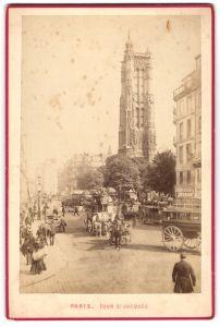 Fotografie Fotograf unbekannt, Ansicht Paris, Tour St. Jacques, Pferdebahn & Kirchturm