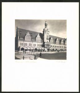 Fotografie Max Baur, Ansicht Leipzig, Autos parken am alten Rathaus